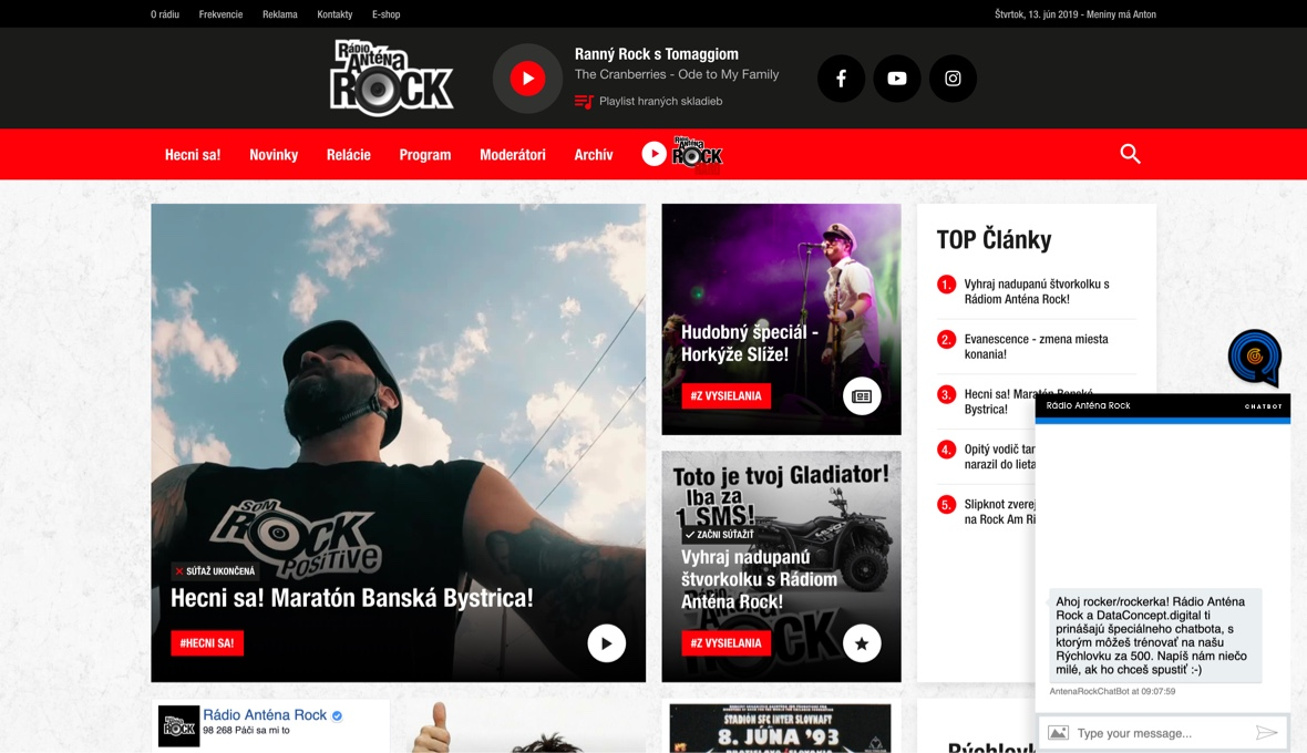 Antena Rock Chatbot Website